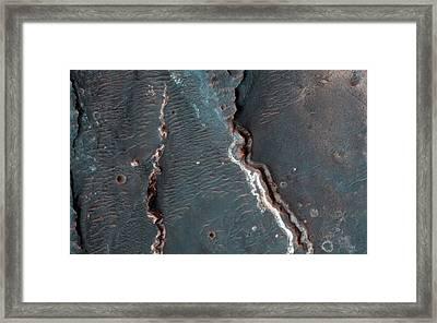Fluvial Features On Mars Framed Print by Nasa/jpl-caltech/university Of Arizona