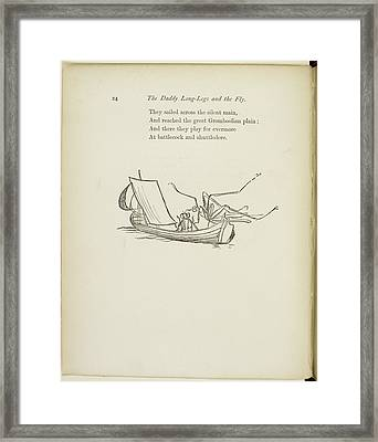 Fly And Daddy Long-legs Sailing In A Boat Framed Print by British Library