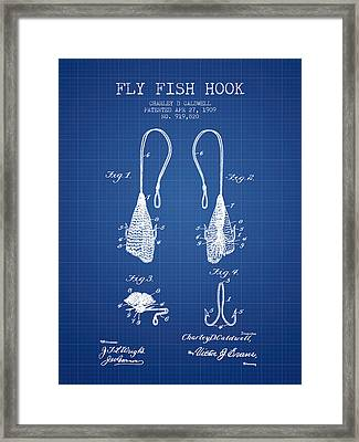 Fly Fish Hook Patent From 1909- Blueprint Framed Print