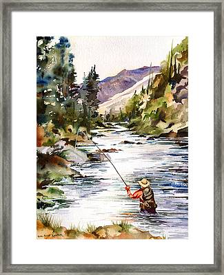 Fly Fishing In The Mountains Framed Print by Beth Kantor