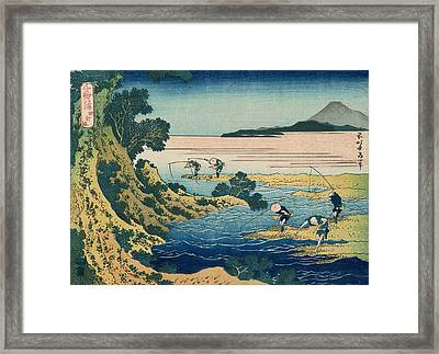 Fly-fishing Framed Print by Katsushika Hokusai