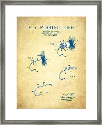 Fly Fishing Lure Patent From 1969 - Vintage Paper Framed Print