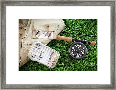 Fly Fishing Rod And Asessories Framed Print by Sandra Cunningham