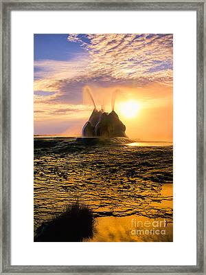 Fly Geyser Sunrise Framed Print by Inge Johnsson