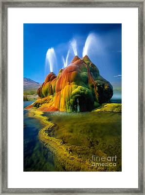 Fly Geyser Travertine Framed Print by Inge Johnsson