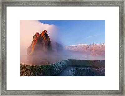 Fly Geyser With Snow Capped Granite Framed Print by Chuck Haney