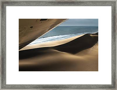 Framed Print featuring the photograph Fly Over The Namib by Juergen Klust