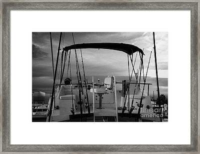 Flybridge On A Charter Fishing Boat In Early Morning Light Key West Florida Usa Framed Print by Joe Fox