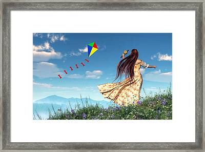 Flying A Kite Framed Print