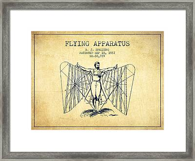 Flying Apparatus Machine Patent From 1867 - Vintage Framed Print by Aged Pixel