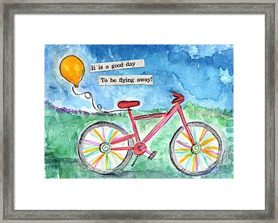 Flying Away- Bicycle And Balloon Painting Framed Print by Linda Woods
