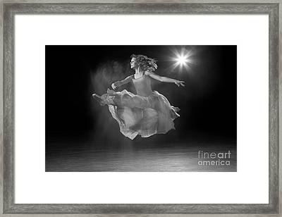 Flying Ballerina In Black And White Framed Print by Cindy Singleton