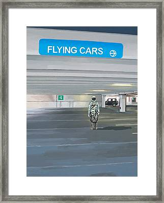 Framed Print featuring the painting Flying Cars To The Right by Scott Listfield
