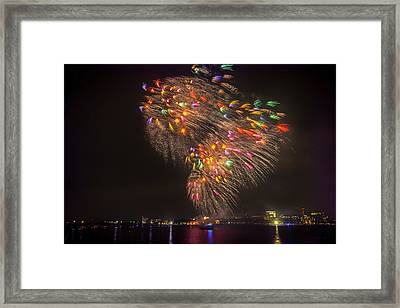 Flying Feathers Of Boston Fireworks Framed Print by Sylvia J Zarco