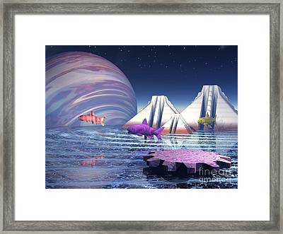 Framed Print featuring the digital art Flying Fish by Jacqueline Lloyd