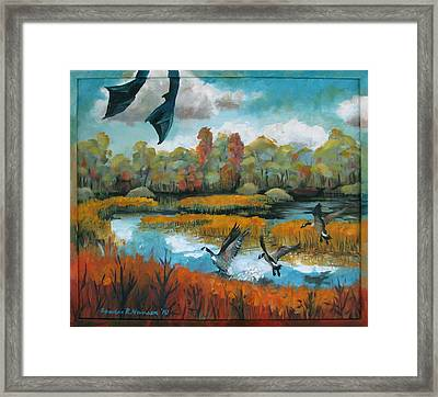 Flying Geese Feet Framed Print by Art Nomad Sandra  Hansen