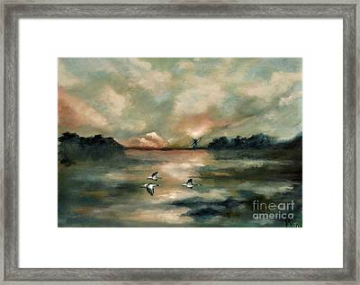 Framed Print featuring the painting Flying Geese by Maja Sokolowska