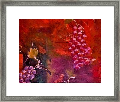 Framed Print featuring the painting Flying Grapes by Lisa Kaiser
