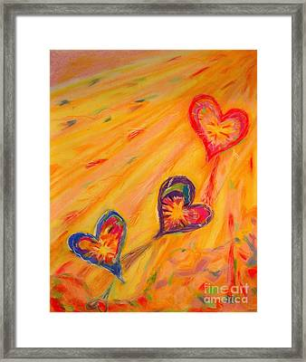 Flying Hearts Framed Print by Kelly Athena