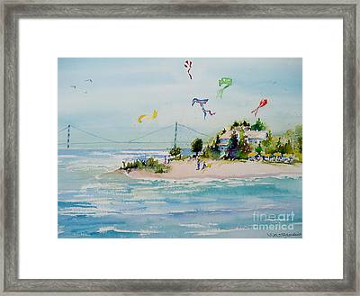 Framed Print featuring the painting Flying High On Mackinac Island by Sandra Strohschein