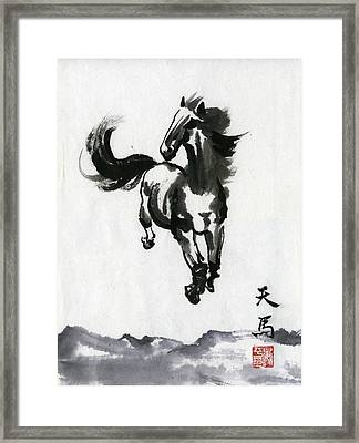 Framed Print featuring the painting Flying Horse by Ping Yan