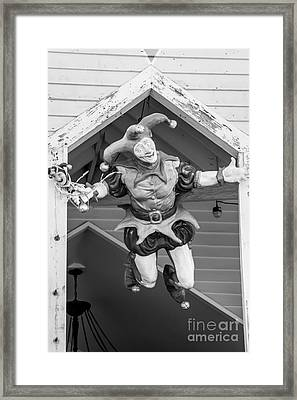 Flying Jester Duval Street Key West - Black  And White Framed Print by Ian Monk