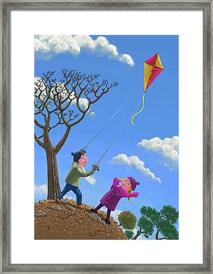 Flying Kite On Windy Day Framed Print by Martin Davey