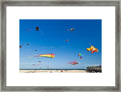 Flying Kites At St Augustine Beach Pier Framed Print by Michelle Wiarda