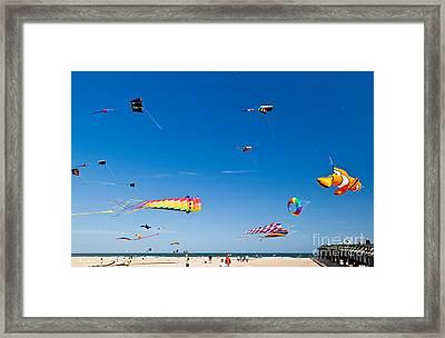 Flying Kites At St Augustine Beach Pier Framed Print by Michelle Wiarda