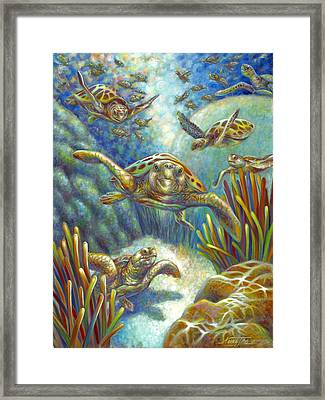 Flying Loggerhead Turtles Framed Print
