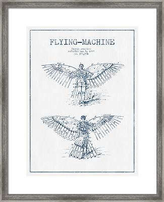 Flying Machine Patent Drawing From 1889- Blue Ink Framed Print by Aged Pixel