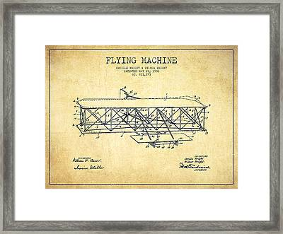 Flying Machine Patent Drawing From 1906 - Vintage Framed Print by Aged Pixel