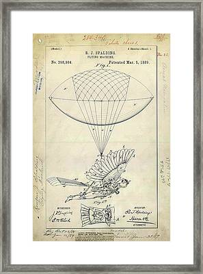 Flying Machine Patent Framed Print by Us Patent And Trademark Office