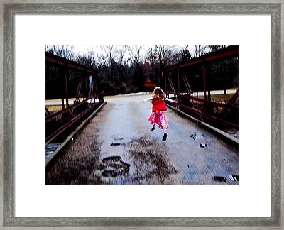 Flying On The Bridge Framed Print