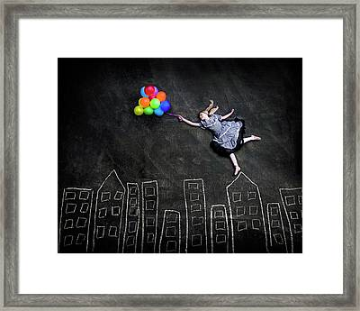 Flying On The Rooftops Framed Print by Nj Sabs