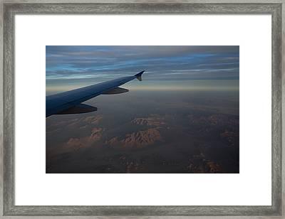 Flying Over The Mojave Desert At Dawn Framed Print