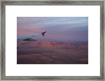 Flying Over The Mojave Desert At Sunrise Framed Print