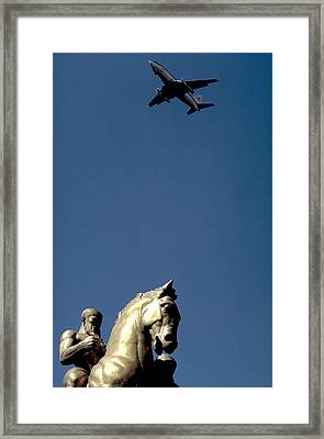 Flying Over Washington Dc Framed Print by Carl Purcell