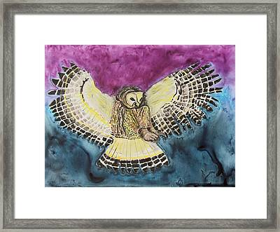Framed Print featuring the painting Flying Owl by Jeanne Fischer