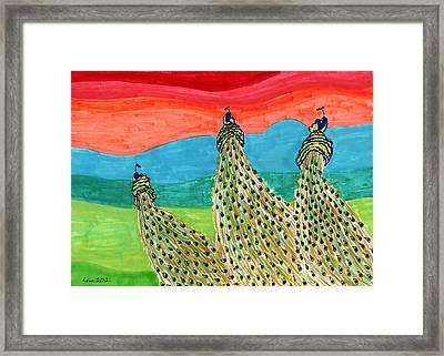 Flying Peacocks Framed Print