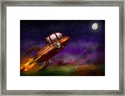 Flying Pig - Rocket - To The Moon Or Bust Framed Print by Mike Savad