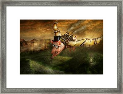 Flying Pig - Steampunk - The Flying Swine Framed Print