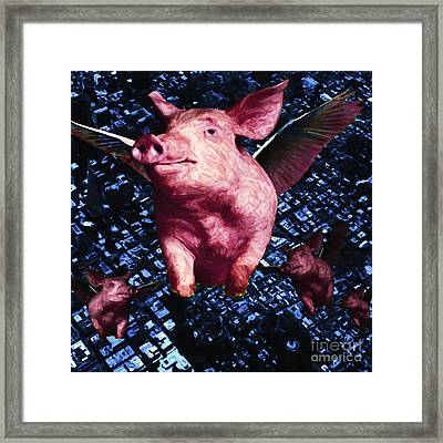 Flying Pigs Over San Francisco - Square Framed Print by Wingsdomain Art and Photography