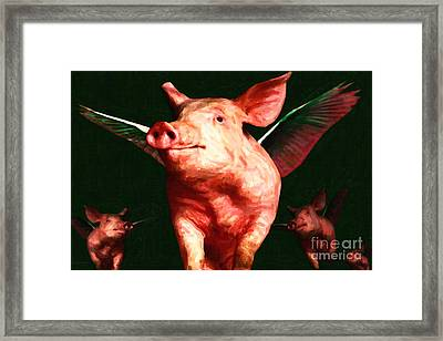 Flying Pigs V1 Framed Print by Wingsdomain Art and Photography