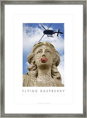 Framed Print featuring the digital art Flying Raspberry Naturally Fruity Poster by David Davies