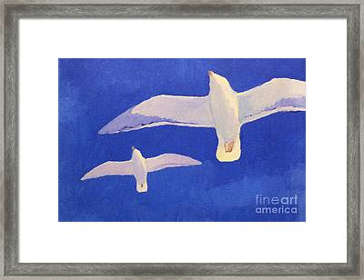 Flying Seagulls Framed Print by Lutz Baar