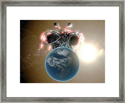 Flying Spaghetti Monster And Earth Framed Print by Christian Darkin