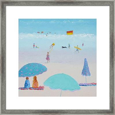 Flying The Kite - Beach Painting Framed Print by Jan Matson