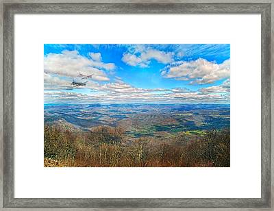 Flying The Sky Blue Ridge Parkway Framed Print