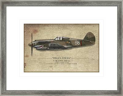 Flying Tiger P-40 Warhawk - Map Background Framed Print by Craig Tinder